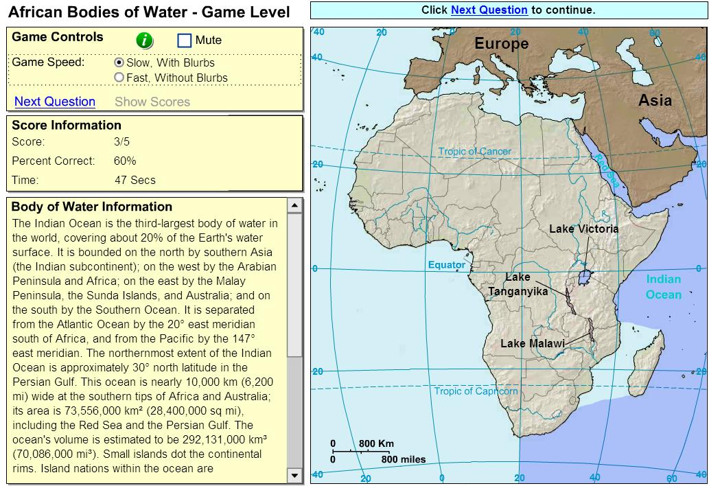 Oceans and lakes of Africa. Game. Sheppard Software