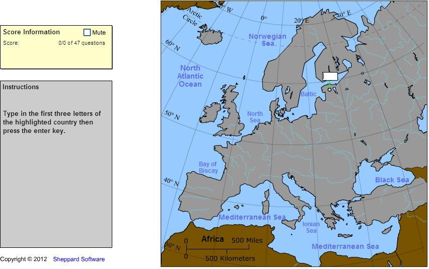 Countries of Europe. Explorer. Sheppard Software