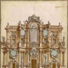 Decoración de la fachada de Santa Maria in Aracoeli en Roma con motivo de la proclamación de Benedicto XIII