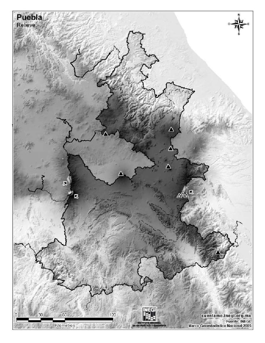 Mapa mudo de montañas de Puebla. INEGI de México