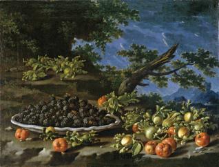 Bodegón con plato de moras, acerolas y avellanas en un paisaje