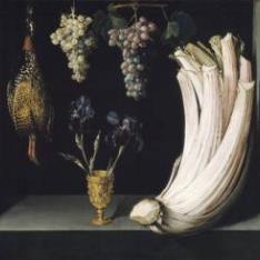 Bodegón con cardo, francolín, uvas y lirios