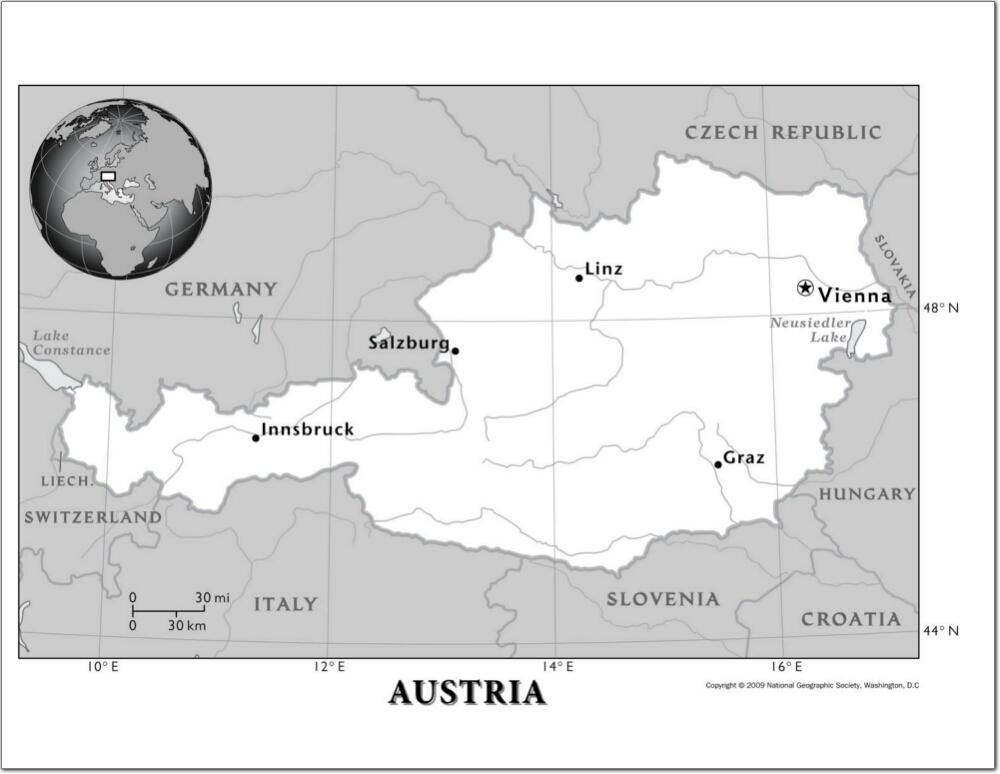 Mapa de ríos de Austria. National Geographic