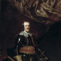 Felipe IV armado y con un león a los pies