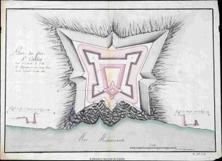 Plan du fort Sn. Carlos situé à L'Oüess. de L'Ile de Majorque à une demy-Lieüe de la capitale de cette Isle