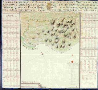 Carta Geographica de los Pueblos, Montes, y sus Prales. arboledas rios de Sn Lucar de Barrameda
