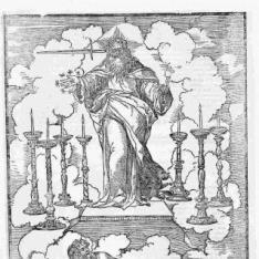 Dios Padre entregando a San Juan los siete candelabros