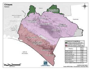 Mapa en color de montañas de Chiapas. INEGI de México