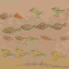 Pájaro y peces