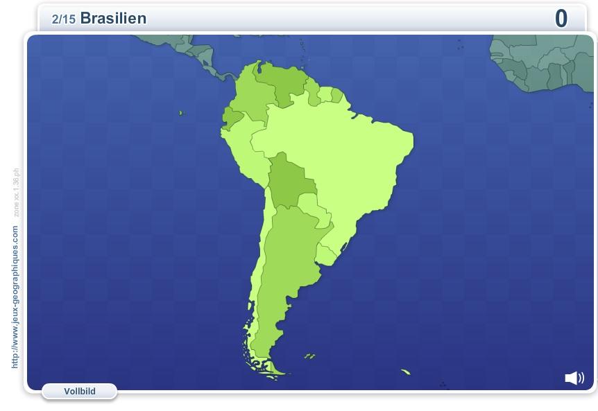 Geo Quizz Südamerika. Geographie Spiele