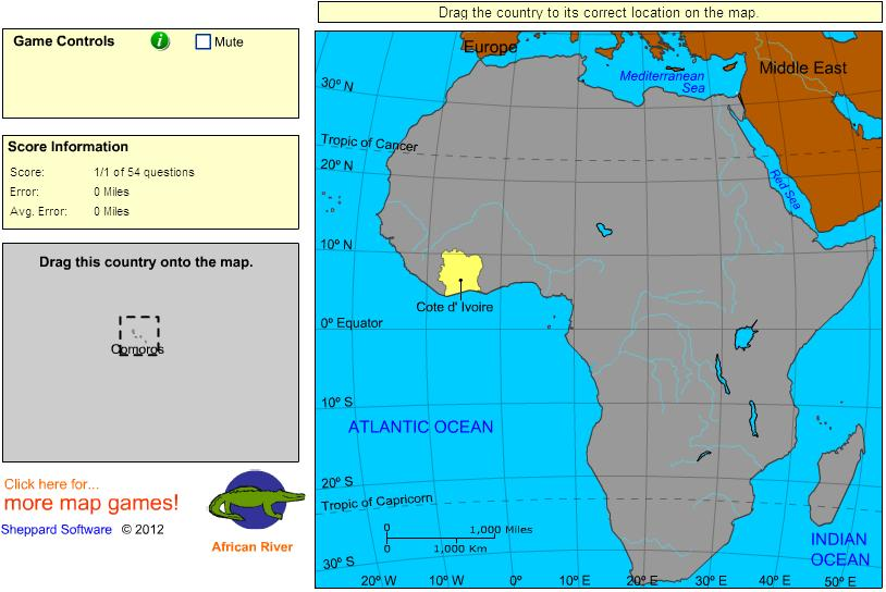 Countries of Africa.  Intermediate. Sheppard Software