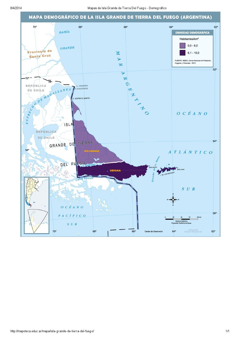 Mapa demográfico de Isla Grande de Tierra del Fuego. Mapoteca de Educ.ar