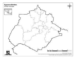Mapa mudo de municipios de Aguascalientes. INEGI de México