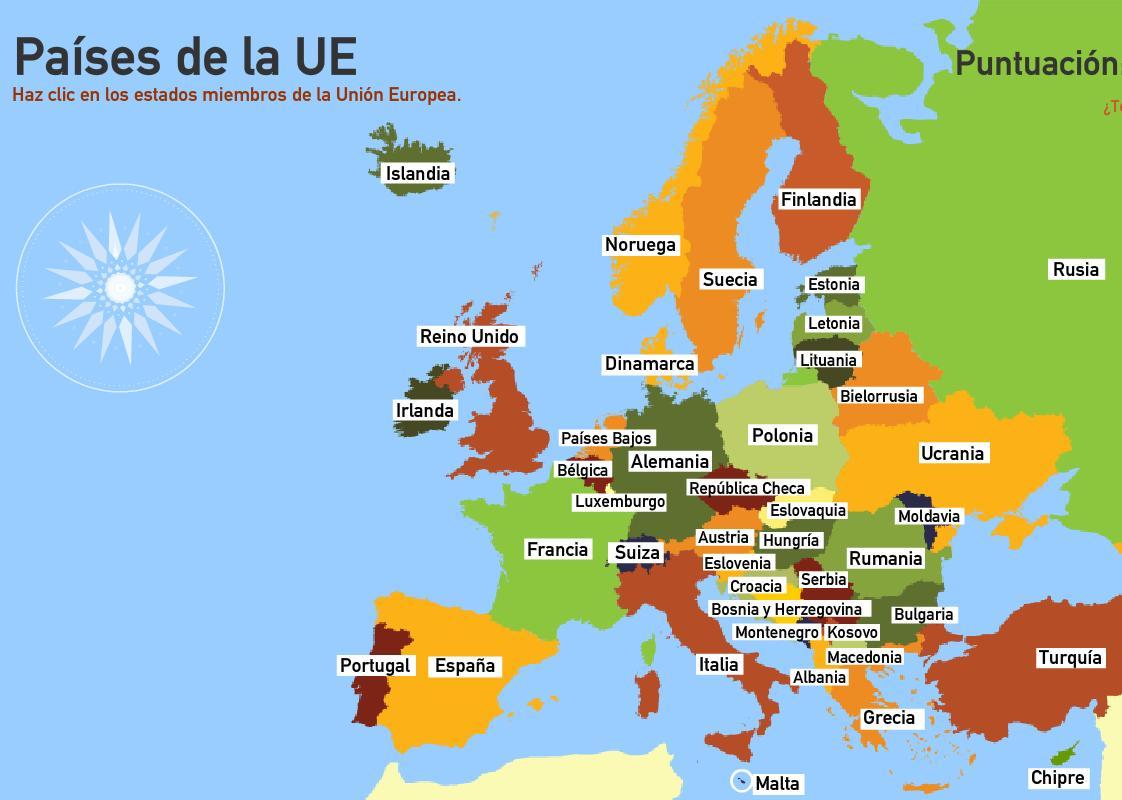 Países de la Unión Europea. Toporopa
