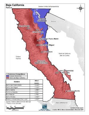 Mapa en color de montañas de Baja California. INEGI de México