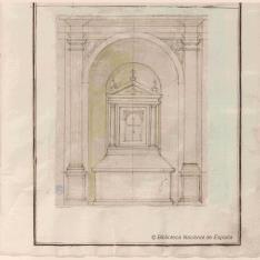 Perspectiva de capilla con altar
