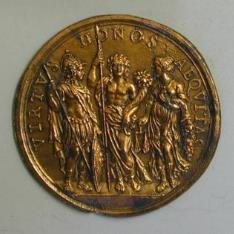 Minerva, la Paz y la Justicia. Prueba de reverso de medalla