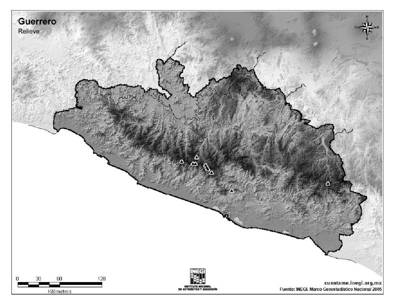 Mapa mudo de montañas de Guerrero. INEGI de México