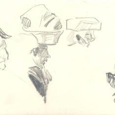 Estudios femeninos portando bultos en la cabeza y cabeza masculina