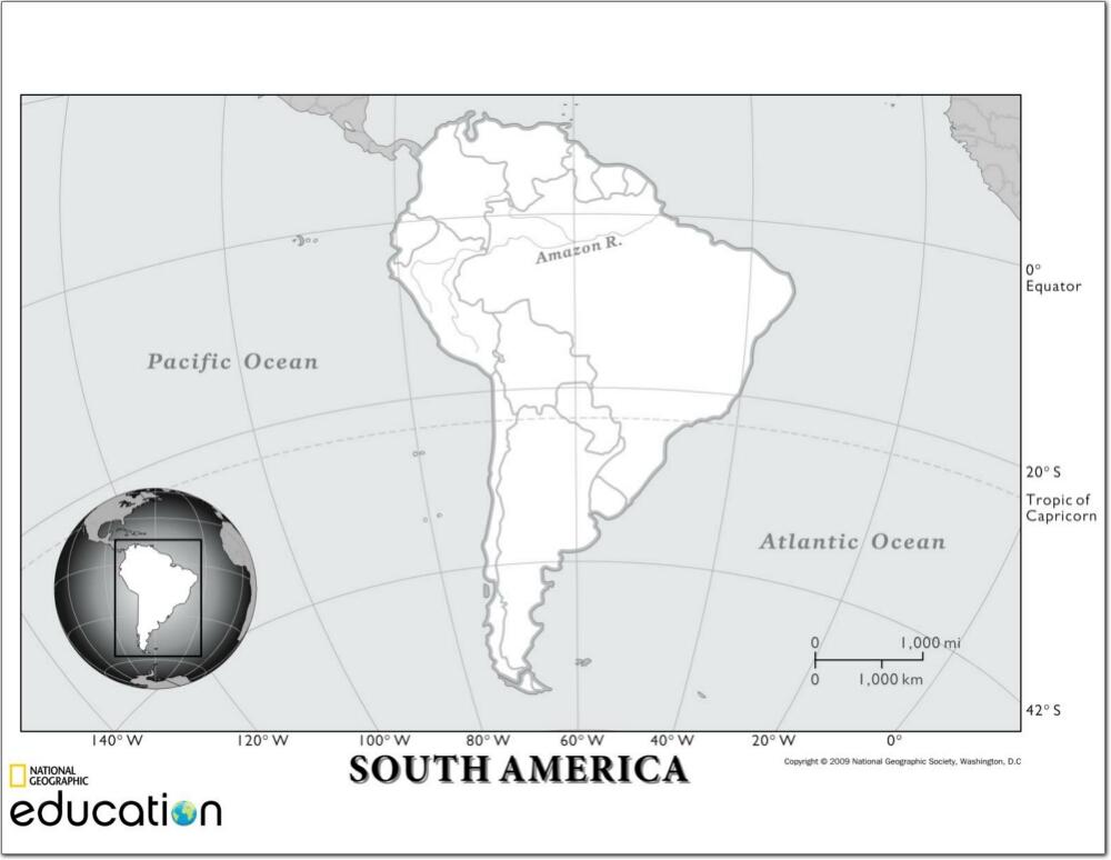 Mapa de países de América del Sur. National Geographic