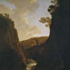 Paisaje con pescadores y pastores a la orilla de un río