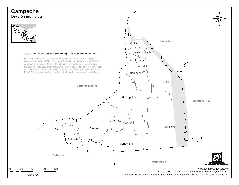 Mapa de municipios de Campeche. INEGI de México