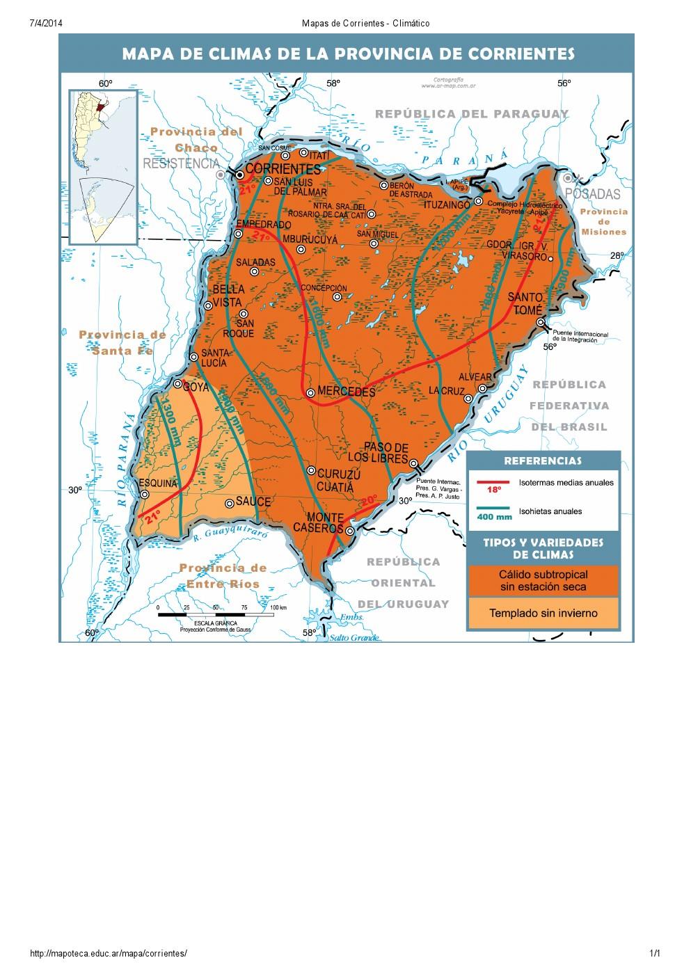 Mapa climático de Corrientes. Mapoteca de Educ.ar