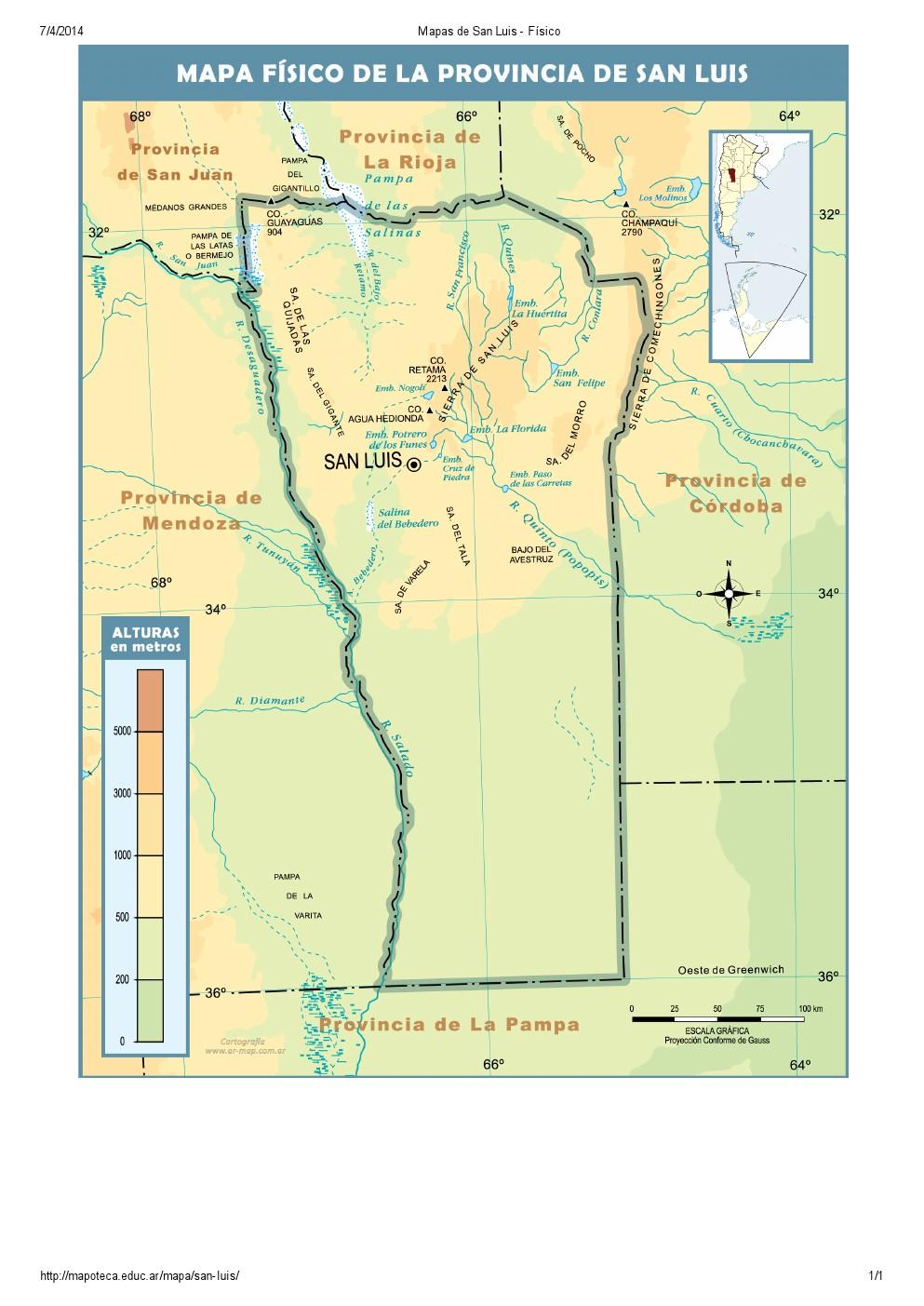 Mapa de ríos de San Luis. Mapoteca de Educ.ar