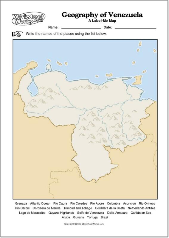 Mapa mudo de ríos y montañas de Venezuela. WorksheetWorks