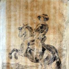 """Retrato ecuestre del Conde Duque de Olivares. Dibujo para grabar las """"""""Copias de las Pinturas de Velázquez"""""""""""