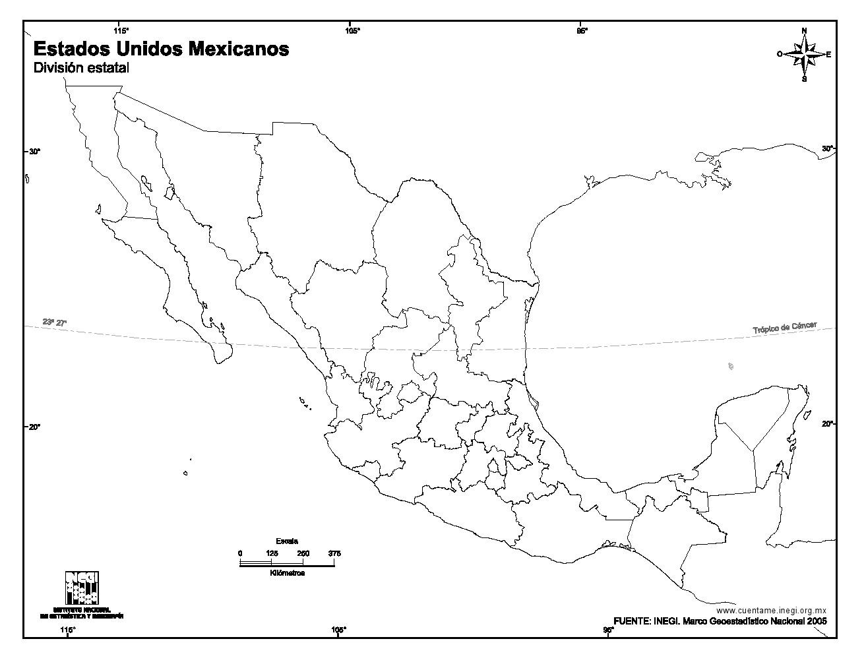 Mapa mudo de Estados Unidos Mexicanos. INEGI de México