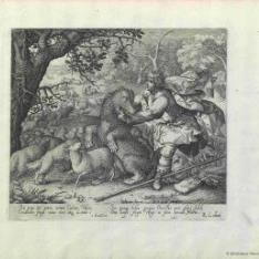 David defendiendo de un oso a las ovejas