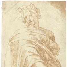 Figura con manto y corona de laurel