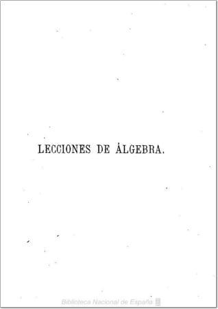 Lecciones elementales de álgebra
