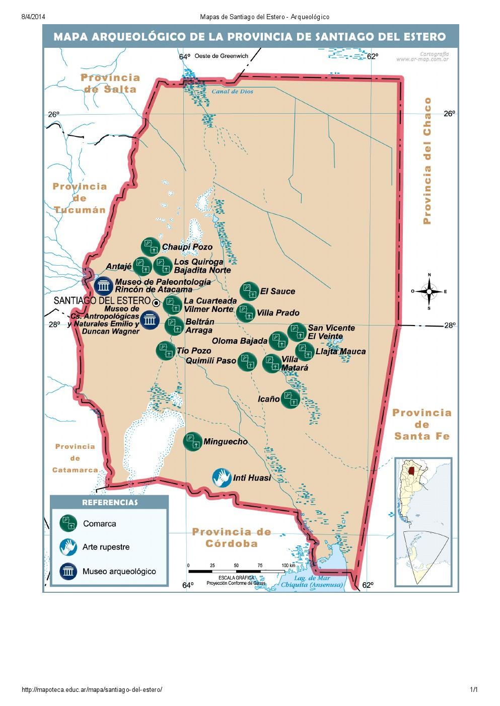 Mapa arqueológico de Santiago del Estero. Mapoteca de Educ.ar