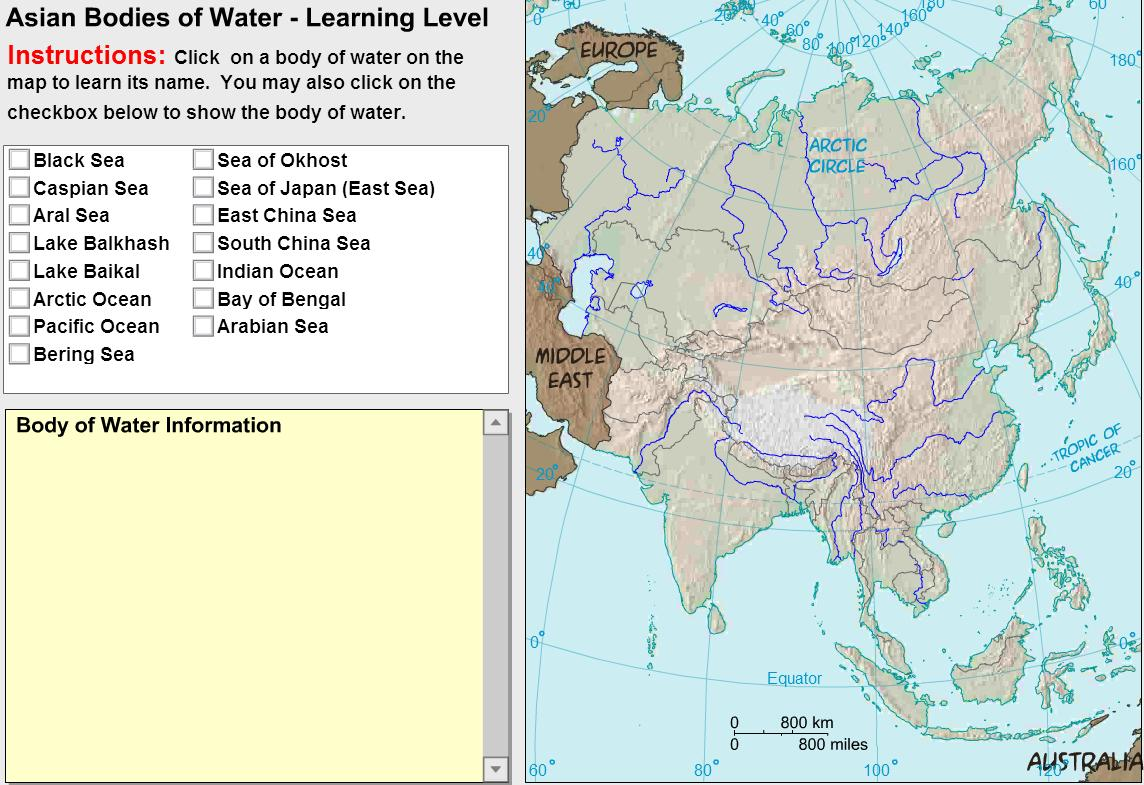 Oceans and lakes of Asia. Tutorial. Sheppard Software