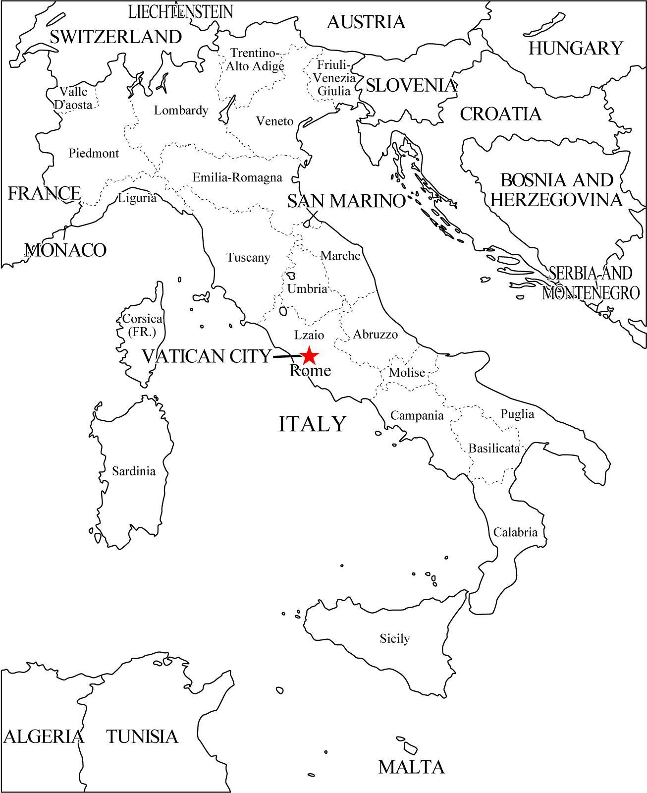 Mapa de regiones de Italia. Freemap