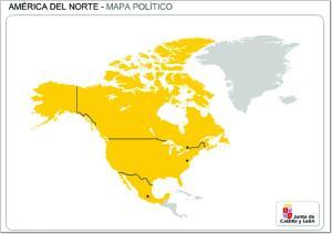 Mapa de países de América del Norte. JCyL