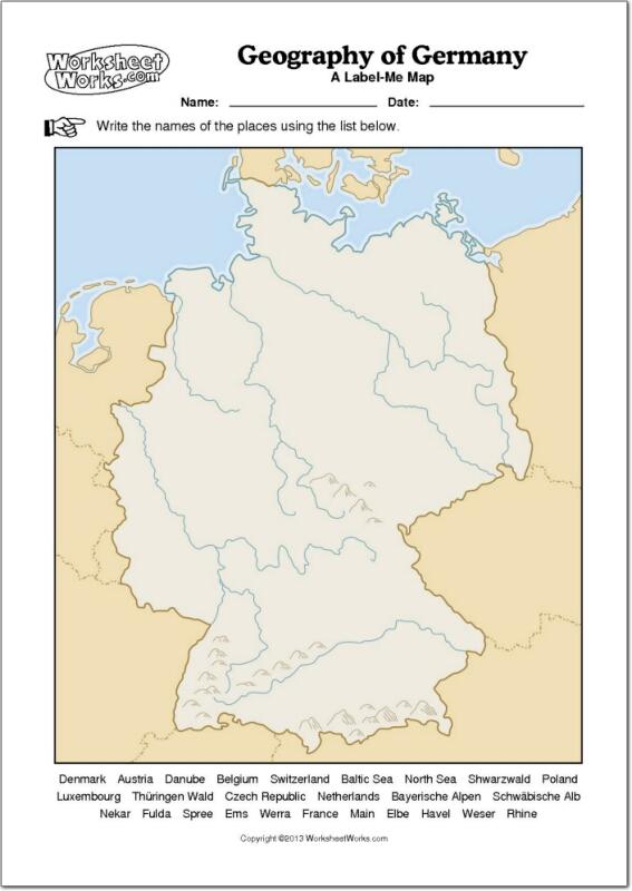 Mapa mudo de ríos y montañas de Alemania. WorksheetWorks