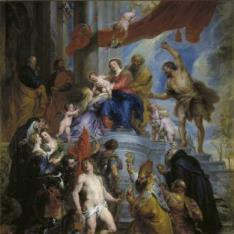 La Sagrada Familia rodeada de santos
