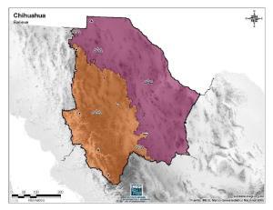 Mapa mudo de montañas de Chihuahua. INEGI de México