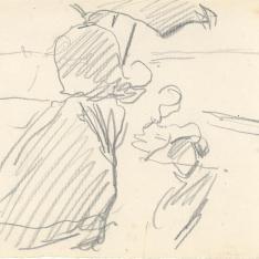 Mujer con sombrilla, playa de Valencia