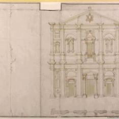 Alzado, planta y perfil de la fachada de la iglesia de San Luigi dei Francesi, Roma