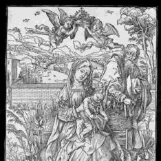 La Sagrada Familia con tres liebres