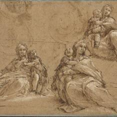 Tres estudios de una figura femenina con un niño