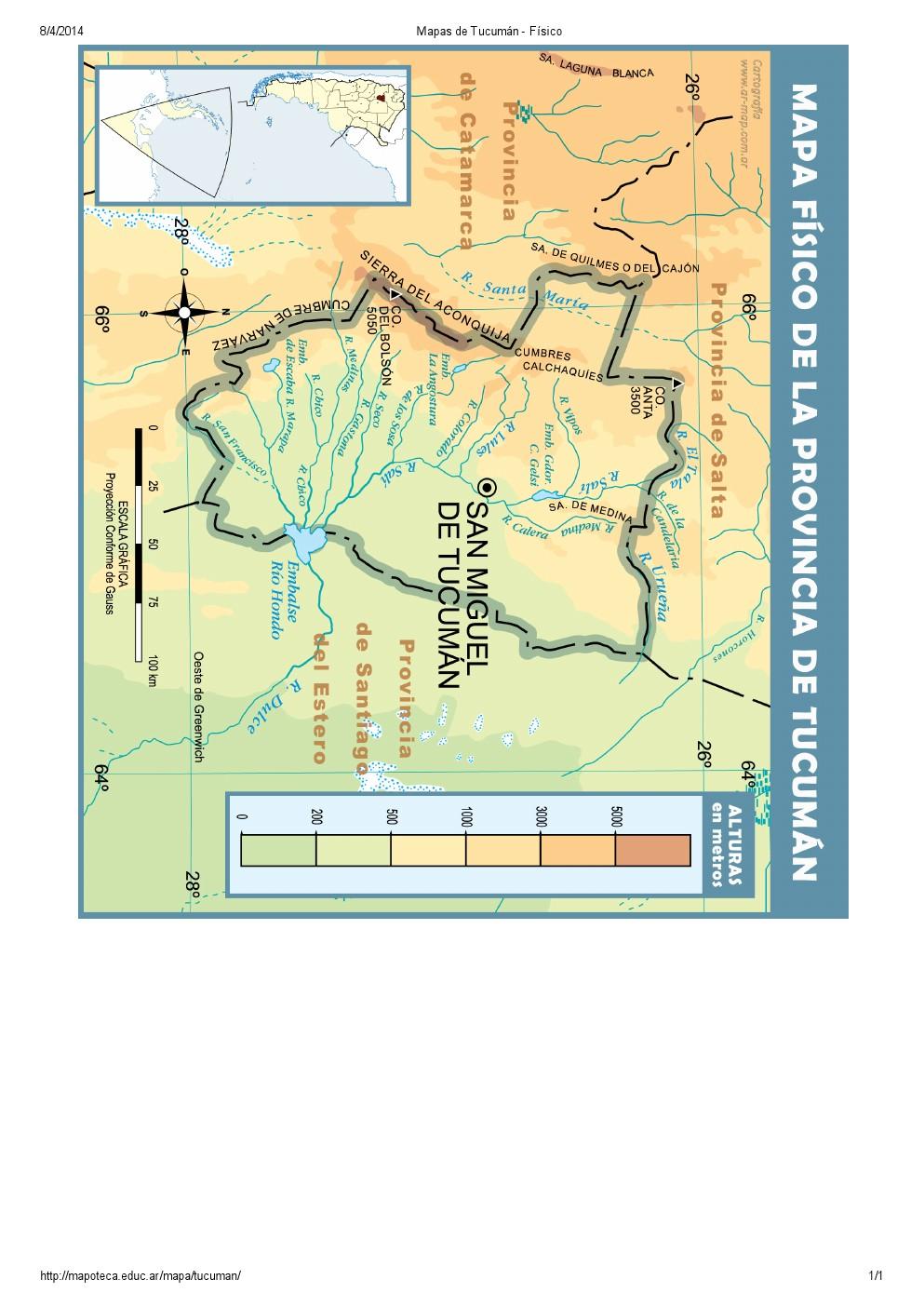 Mapa de ríos de Tucumán. Mapoteca de Educ.ar