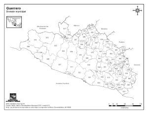 Mapa de municipios de Guerrero. INEGI de México