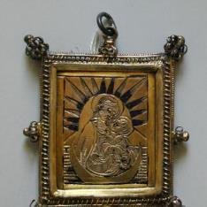 Tablilla con la Virgen Apocalíptica y Santa Lucía