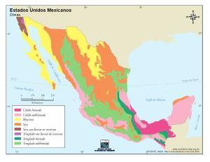 Mapa de climas de México. INEGI de México