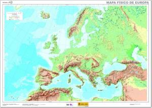 Mapa de ríos y montañas de Europa. IGN